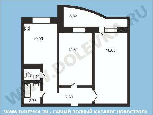 Дизайн трехкомнатной квартиры 53 кв.м